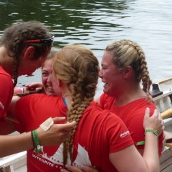 Emotional celebration after winning the Rowing Race